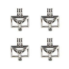 5x Silver Plated Heart Envelope Pearl Cage Locket Open Pendant DIY Necklace Gift