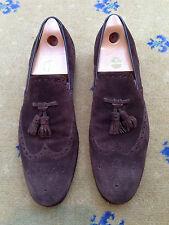 Gucci Para Hombre Zapatos De Gamuza Marrón Mocasines Con Borlas UK 11 nos 12 EU 45 Hecho en Italia