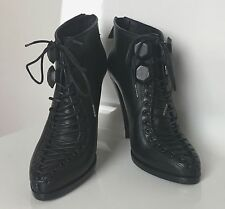 GIVENCHY Black Leather Lace Up Runway Ankle Boots Booties 37 7 6.5 Dustbags