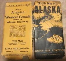 Vintage ~ Maps Of ALASKA ~ Kroll's ~ 34 x 44 1/2 ~ Six Color