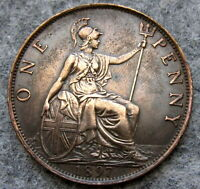 GREAT BRITAIN QUEEN VICTORIA 1897 ONE PENNY, HIGH GRADE PATINA