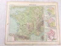 1898 Français Carte de France Physique Agricole Climat 19th Siècle Ancien