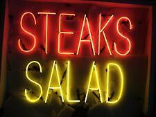 "Steaks Salad Steak Open Neon Light Sign 24""x20"" Beer Bar Decor Lamp Glass"