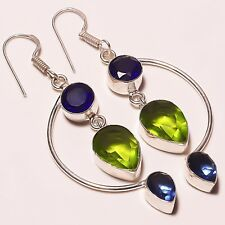"Birthday Gift ! Peridot Tanzanite Quartz Silver Plated Handmade Earring 2.5"""