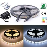5630 3528 SMD LED Strip Lights Kit Waterproof Flexible Adapter Controller 1/3/5m