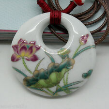 Beautiful Lotus Flower Painted Porcelain China Ceramic Peace Pendant Necklace