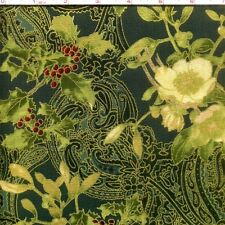 Masami Nightshade Gold Multi Floral Metallic 100/% cotton fabric by the yard