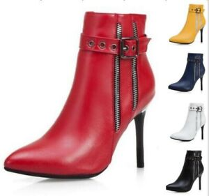 Sexy Women Buckle Pointed Toe Stiletto High Heel Zip Up Formal Ankle Party Boots