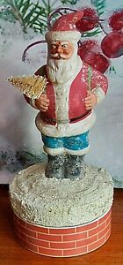 Vintage PAPER MACHE SANTA CLAUS~candy container Chimney Christmas Tree SO CUTE!