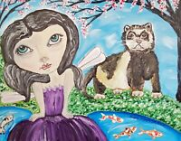 Faery Ferret Gothic Art Print 8x10 Signed by Artist Kimberly Helgeson Sams Fairy