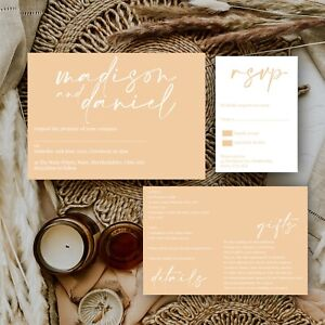 Personalised WEDDING INVITATIONS Peach/Nude Modern Natural minimal PK 10