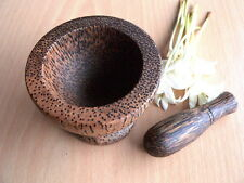 Mortar and pestle small size 3 inches primitive vintage Thai handcraft wooden