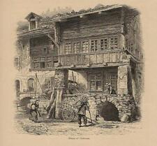 Stampa antica CASE di UNTERSEEN Lago di Thun Berna Switzerland 1875 Old Print