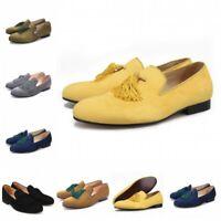 Hot Suede Slip On Loafers Handmade Tassel Modern Formal Mens Dress Casual Shoes