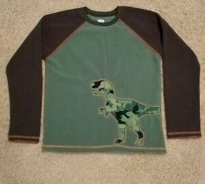 Carter's Super Comfy Boys Green Dinosaur Design Fleece Shirt Top Size 10, EUC