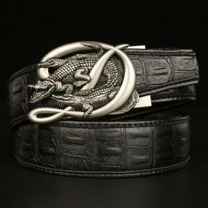 Mens Belts Cowhide Genuine Leather Crocodile Alligator Automatic Buckle Straps