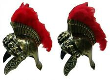 Roman Costume Helmet with Red Feather Plume, Gold, One Size