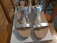 ladies 6.5 M Silver metallic wedge heel sandal  A+condtion worn only few times