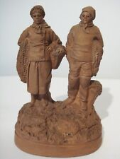 ANTIQUE MINIATURE TERRA-COTTA SCULPTURE OF FISHERMAN & WOMAN WITH NETS - SIGNED
