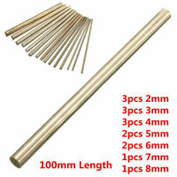15PCS Brass Bar Round Rod Bar Tube Solid Lathe Cutting Tool Metal Diameter 2-8MM