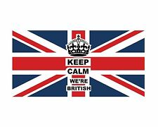 """LARGE UNION JACK FLAG """"KEEP CALM WE'RE BRITISH"""" 300mm x 150mm DECAL STICKER"""