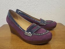 Women's LL Bean Purple Suede Patent Leather Wedge Loafer Comfort Shoe - 10M