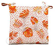 n. 4 Kissen Abdeckung Stuhl Sitzbezug für die Küche Blatt Tupfen Orange