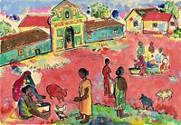 Francis Newton Souza : Untitled (Village Scene in Goa) : Archival Art Print