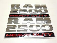 2PCS Chrome Dodge RAM 2500 + Heavy Duty Emblem Badge 3D LOGO LETTERS NAMEPLATE