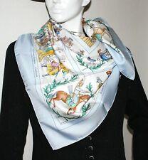 Auth Hermes Scarf COSTUMES CIVILS ACTUELS 90cm Silk Carre Light blue Mint