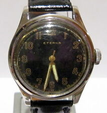 MILITARY SWISS*ETERNA*ALL STEEL,MECHANICAL MEN'S WATCH,WORKS*SERVICED* # 668