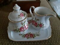 Winterling Rose Bavaria Germany Sugar and Creamer Set with Serving Tray