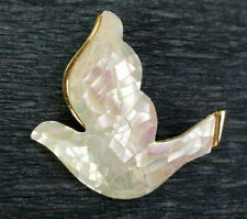 Liz C Dove Bird Mother of Pearl Mosaic Brooch Pin Nicely Made