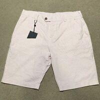 Piere Cardin Paris Mens Shorts Pink White Stripes Size Large Brand New
