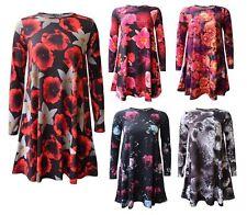 S241 Femmes Femmes Imprimé Floral A-ligne à manches longues évasée Skater robe Swing 8-26