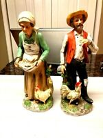 Vintage Homco Figurines Porcelain Old Man And Woman Farmer Chicken 1434