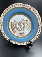 "Sevres Cherubs~Chateau Des Tuileries~Louis Philippe Plate~Blue Putty~8 3/4"""