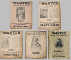 Set  of 5 Indian Wanted Posters Geronimo Cochise Crazy Horse Gall Sitting Bull