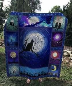 Night Cats Quilt Blanket, Thanksgiving Christmas Birthday Gift