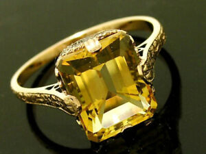 R299 Genuine 9K, 14K or 18K Gold Natural Citrine Octagon 3.00ct Solitaire Ring