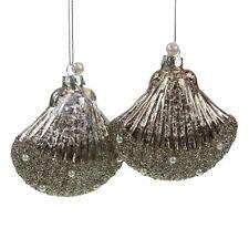 2 Glasmuscheln Taupe Silber Weihnachtsschmuck Baumschmuck Christbaumschmuck