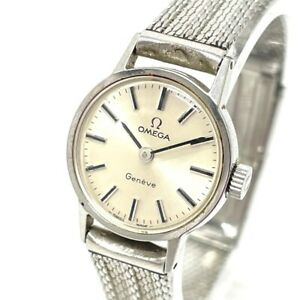 OMEGA antique Geneva Hand Winding Automatic Wristwatch SS Silver