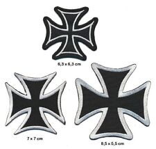 Wehrmacht cruz German Cross Patch aufbügler Patch 3 trozo Biker BLK Silver