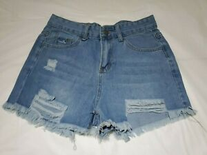 Women's Distressed Frayed Denim Shorts Size S NEW