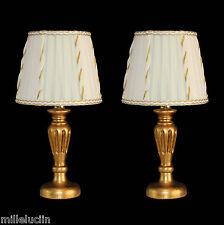 COPPIA DI LUMETTI, LAMPADE DA TAVOLO DESIGN CLASSICO CONTEMPOR  153 RIGATO ORO