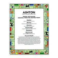 FIRST NAME MEANING & ORIGIN PRINT Personalised Birthday Gift - US Monopoly Game