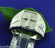 750 18K Solid White gold Cross Ring Mens Men's size 8 to 11 Gents statement ring