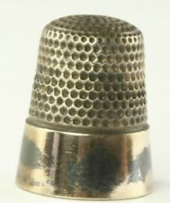 VINTAGE ANTIQUE STERLING SILVER & 14K GOLD SIZE 10 THIMBLE