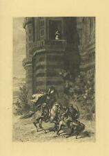 ANTIQUE ARABIAN SWORD FIGHT DUEL MEN HORSES WOMAN TOWER ETCHING ART PRINT