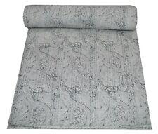 Hand Block Print Kantha Quilt Bedding Reversible Vintage Throw Cotton Twin Size